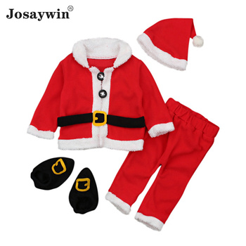 baby costume set 0 2y santa elf climb clothes sets boys gilrs christmas rompers overalls roupas santa claus jumpsuits and hat Christmas Clothes Children Suits Boys Kids Girl Sets Unisex Santa Claus 4 Pieces Toddler Autumn Long Sleeve Baby Clothes Newborn