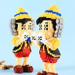 1435 sztuk + diamentowe klocki długi nosek lalek kapelusz chłopiec Pino montaż Amall klocki dla dzieci prezenty 21851