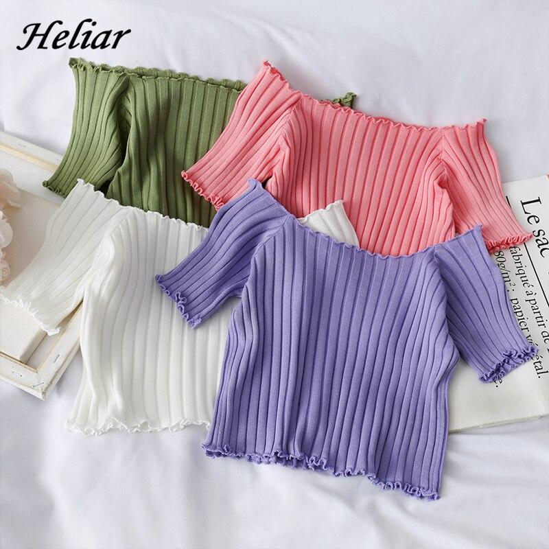 HELIAR Women T-shirts Off Shoulder Knitting Crop Tops Short Sleeve Stretchy Ruffles Hem Tee shirts Women 2020 Summer Crop Tees(China)