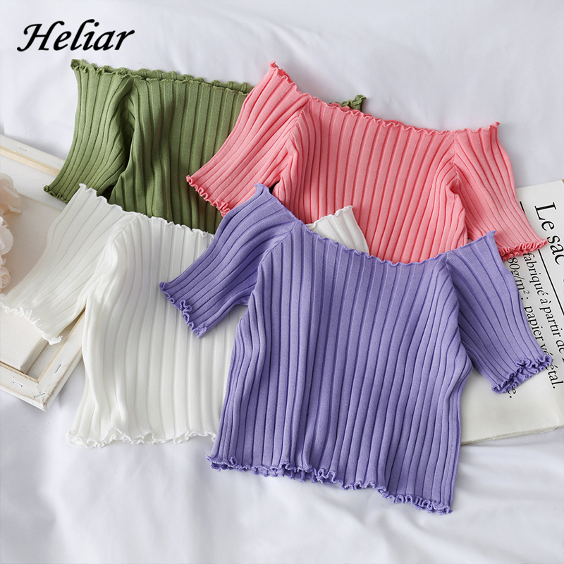 HELIAR Women T shirts Off Shoulder Knitting Crop Tops Women Short Sleeve Stretchy Ruffles Hem T shirts Stripes Tops For Women
