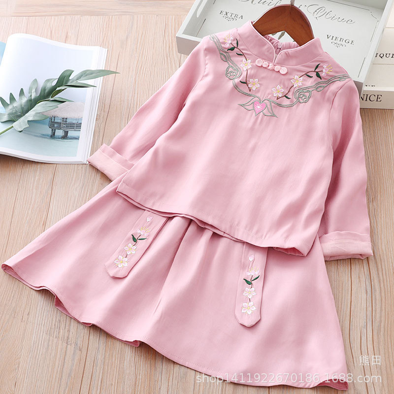 2019 New Style Spring And Autumn Children The Republic Of China-Style Ladies' Cute Little Skirt Chinese Clothing Two-piece Dress