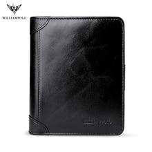 купить WILLIAMPOLO 2017 Leather Men Wallets Wallets Man Clutch Bag Card Holder Male Purse Men Leather Wallet Purse POLO278 по цене 1726.63 рублей
