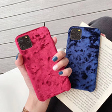 Fashion Velvet Plush Fabrics Smooth Case For iPhone 7 8 6s Plus Solid Color Warm Soft Back Cover For iPhone 12 11 Pro XS XR Max