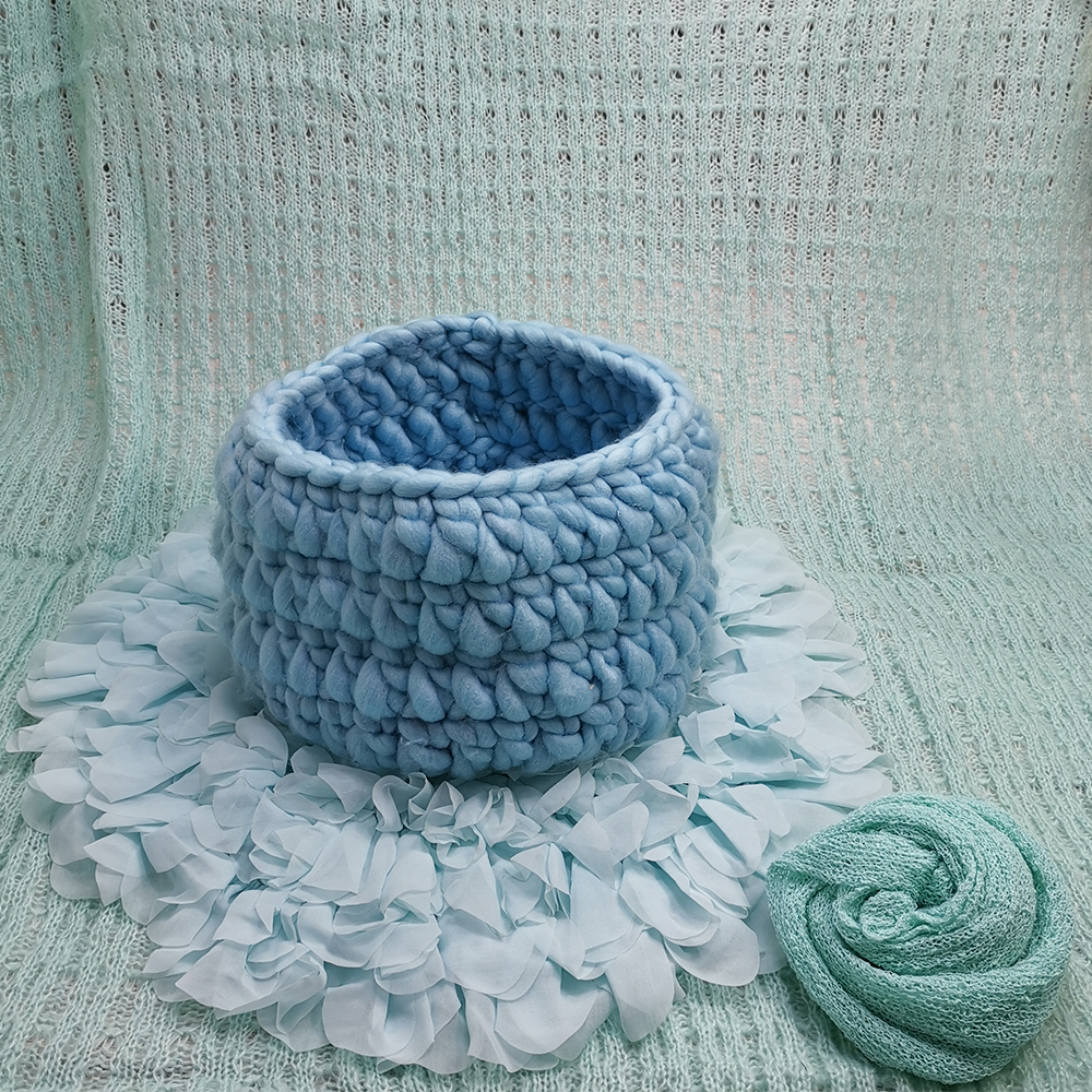 150*100cm Posing Layer Backdrop+Knitted Basket+Dia=50cm Chiffon Flower Cushion+140*30cm Stretch Knit Wrap for Newborn Baby Shoot