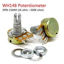 5pcs WH148 B1K B2K B5K B10K B20K B50K B100K B500K 3Pin 15mm Shaft Amplifier Dual Stereo Potentiometer 1K 2K 5K 10K 50K 100K 500K
