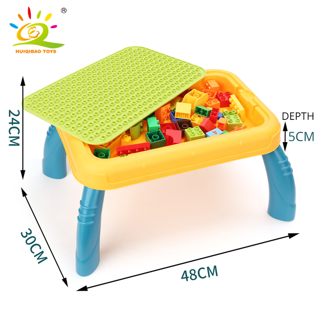 HUIQIBAO Big Building Block Desk Compatible Duploed size brick Multifunctional Study Table Learning painting Board Children Toys