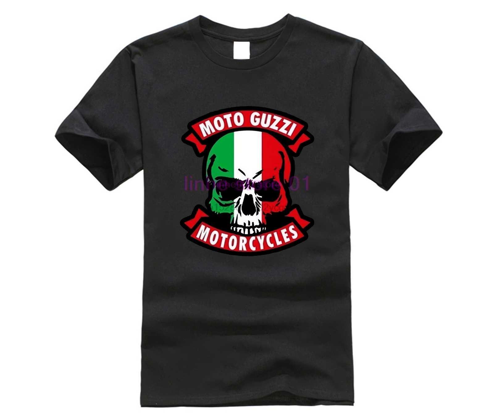 Moto Guzzi Motorcycle Italy Skull Cafe Racer Logo Mens Casual Cotton Loose T-shirt