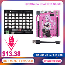 RGBDuino UNO V1.1/V1.2 Demooard + RGB Sheild LED Panel ATmega328P Chip CH340C VS Arduino UNO R3 For mega 2560 Raspberry Pi 4/Pi3