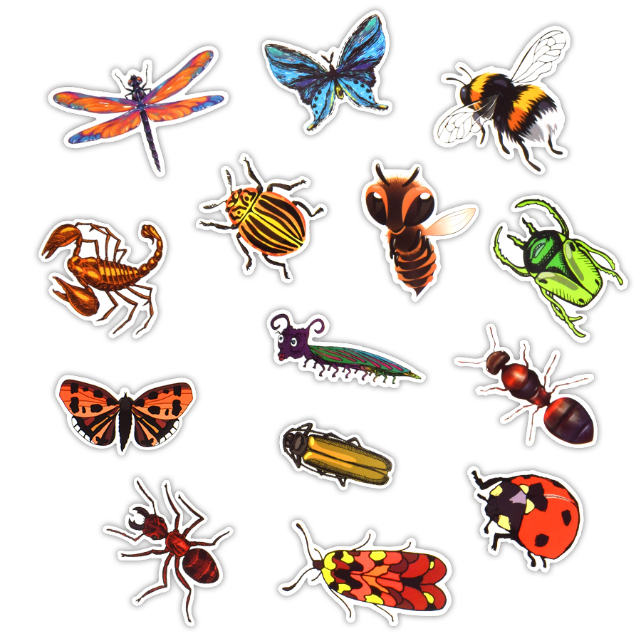 50PCS Insect Graffiti Stickers Retro Stickers Gifts For Children To Laptop Suitcase Guitar Fridge Bicycle Car