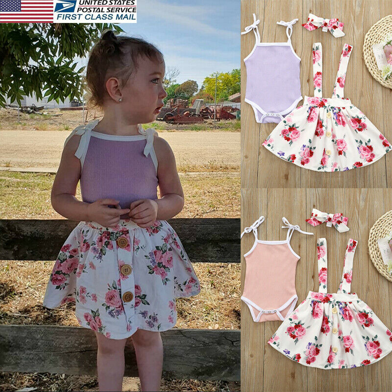 3pcs Newborn Baby Girl 0-24M Princess Sleeveless Top Romper Short Skirt Outfit Clothes