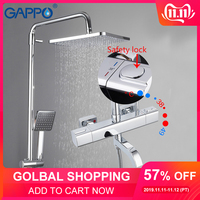 GAPPO Shower Faucets thermostatic bathroom shower mixer shower faucet bath faucet wall mounted rainfall mixer tap shower set
