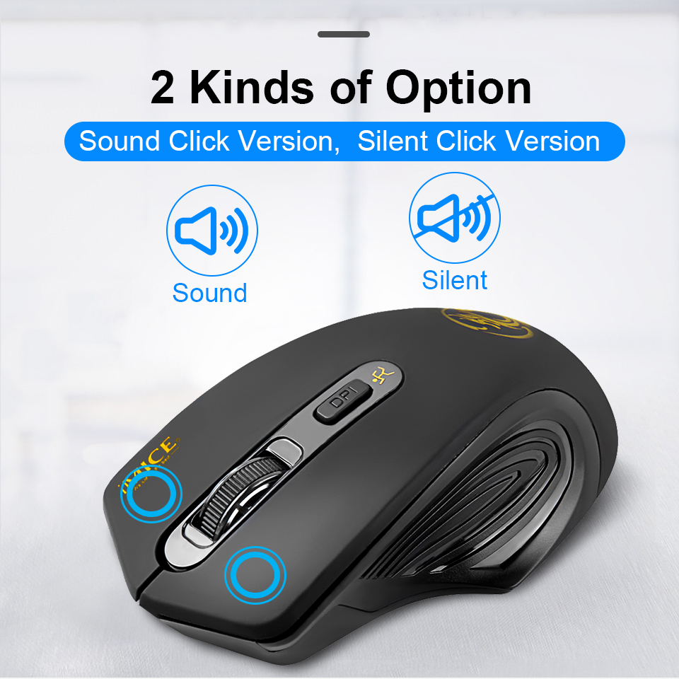USB Wireless Mouse 2000DPI USB 2.0 Receiver Optical Computer Mouse 2.4GHz Ergonomic Mice For Laptop PC Sound Silent Mouse 1