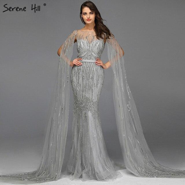 Grey Luxury Sleeveless Dubai Design Evening Dresses 2020 O Neck Crystal Beading Sexy Evening Gowns Serene Hill LA70160