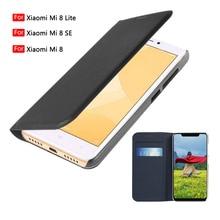 حافظة هاتف لهاتف شاومي Mi 8 لايت محفظة جلدية بطية Xiomi Mi8 Mi8Se Mi8lite 8 Lite مع جيب بطاقة ائتمان 360 واقي