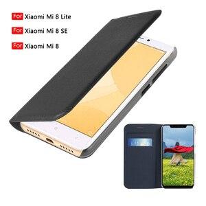 Image 1 - Phone Case For Xiaomi Mi 8 Lite flip wallet leather cover Xiomi Mi8 Mi8Se Mi8lite 8lite With Credit Card Pocket 360 Protective