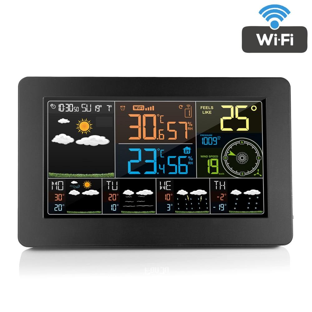 FanJu Digital LCD Alarm Clock Weather Station Wifi Indoor Outdoor Temperature Humidity Pressure Wind Weather Forecast FJW4 Hot