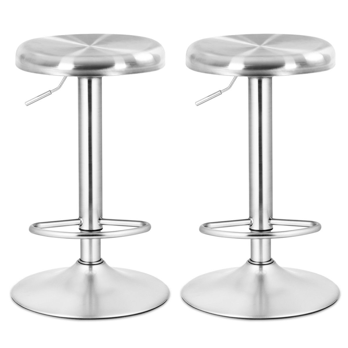 Costway 2 Pcs Brushed Stainless Steel Swivel Bar Stool Seat Adjustable Height Round Top