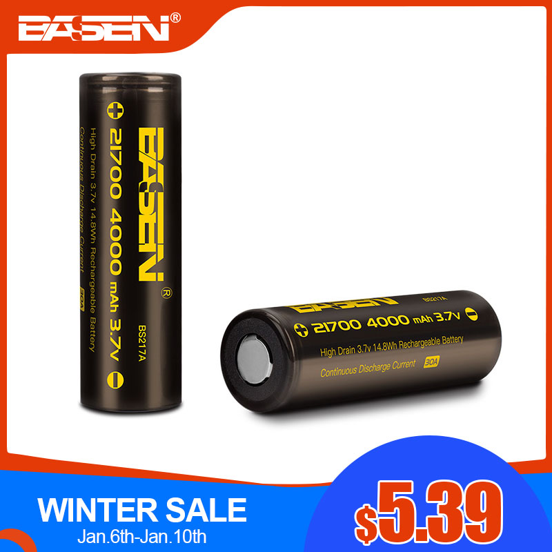 BASEN BS217A 21700 Rechargeable Battery 3.7V 4000mAh High Capacity 21700-30A  Lithium Battery For Led Flashlight NEW