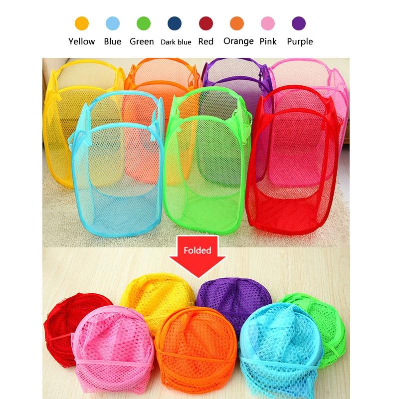 Hoomall Nylon Mesh Fabric Laundry Basket Storage Basket For Toy Washing Basket Dirty Clothes Sundries Basket Box Foldabl