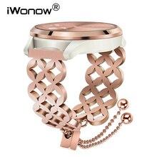 Kobiety biżuteria pasek do zegarków dla Garmin Vivomove HR/3/Vivoactive 4/3 muzyka/Venu/Luxe/styl zegarek pasek ze stali stalowy pasek