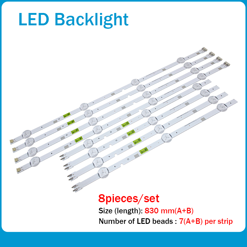 New 1set=8pcs LED Strip For Samsung UN43J5200 2015 SVS43 FCOM FHD V5DN-430SMA-R1 V5DN-430SMB-R1 BN96-37294A 37295A BN96-38878A