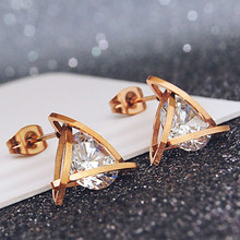 YUN RUO Pave Mosaic Zircon Triangle Stud Earring Rose Gold Color 316 L Stainless Steel Fashion Jewelry woman Gift hypoallergenic