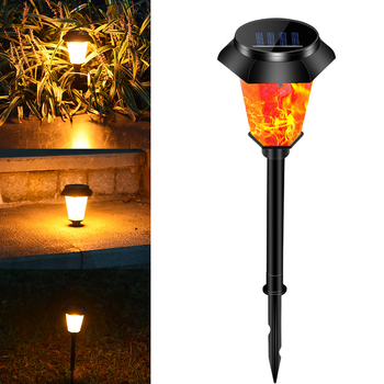 Torch Yard Solar Lights Landscape Waterproof Patio Ground Insert Auto On Off Outdoor Garden Flickering Flames Battery Powered image