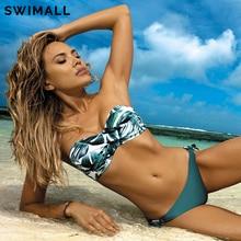 2020 novas folhas imprimir bikini maiô feminino push up bikini conjunto bandeau banho banho biquini brasileiro feminino