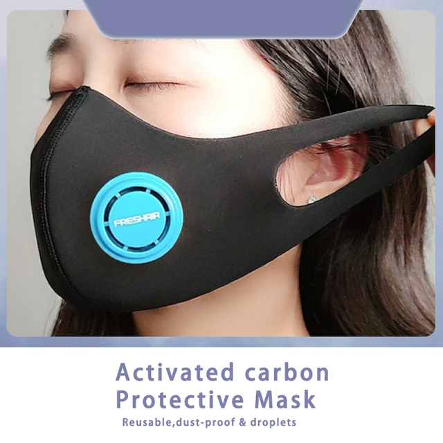 Unisex Dust korean Black Safety Face Mask with N95 Filter Breathable Activated Carbon Respirator Mask for anti dust Anti Flu 3