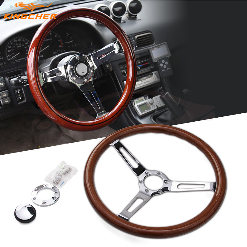 BRAND NEW 15 inch 380 mm Classic Sport Steering <font><b>Wheel</b></font> Wooden Grain Silver Brushed <font><b>Spoke</b></font> Steering <font><b>Wheel</b></font> image