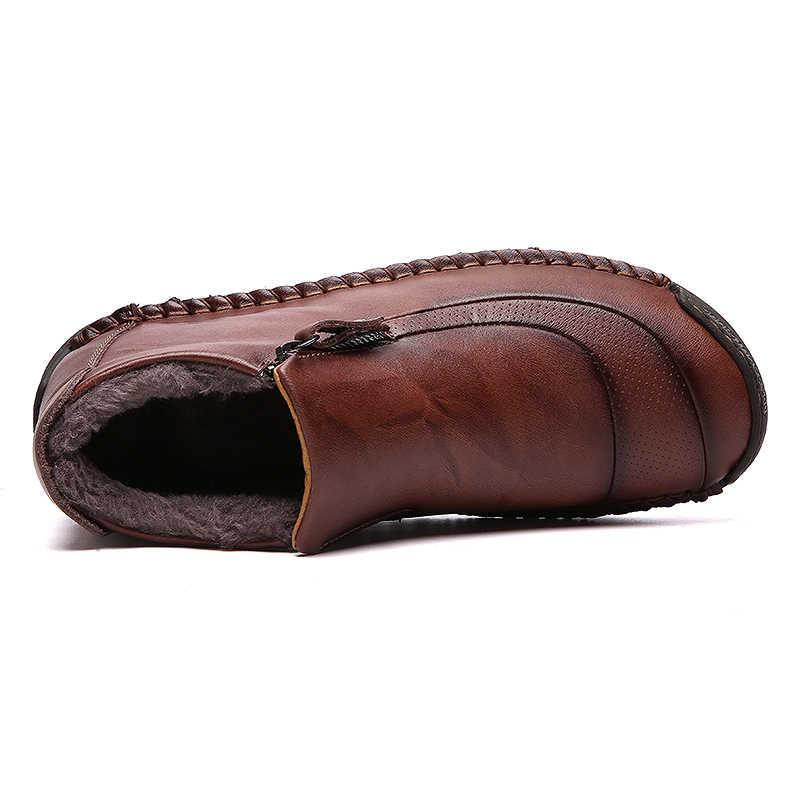 ZUNYU/зимние мужские ботинки; кожаные плюшевые мужские Ботильоны; теплые мужские ботинки на меху; Мужская обувь высокого качества; Повседневная обувь; большие размеры 48