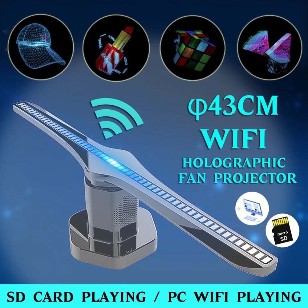 3D 224-LED WiFi holograma proyector ventilador luz logo WIFI pantalla holográfica reproductor publicidad etapa luz imagen LED ventilador
