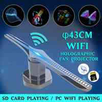 3D 224-LED WiFi holograma ventilador de proyector logo luz WIFI pantalla holográfica reproductor publicidad escenario imagen LED ventilador