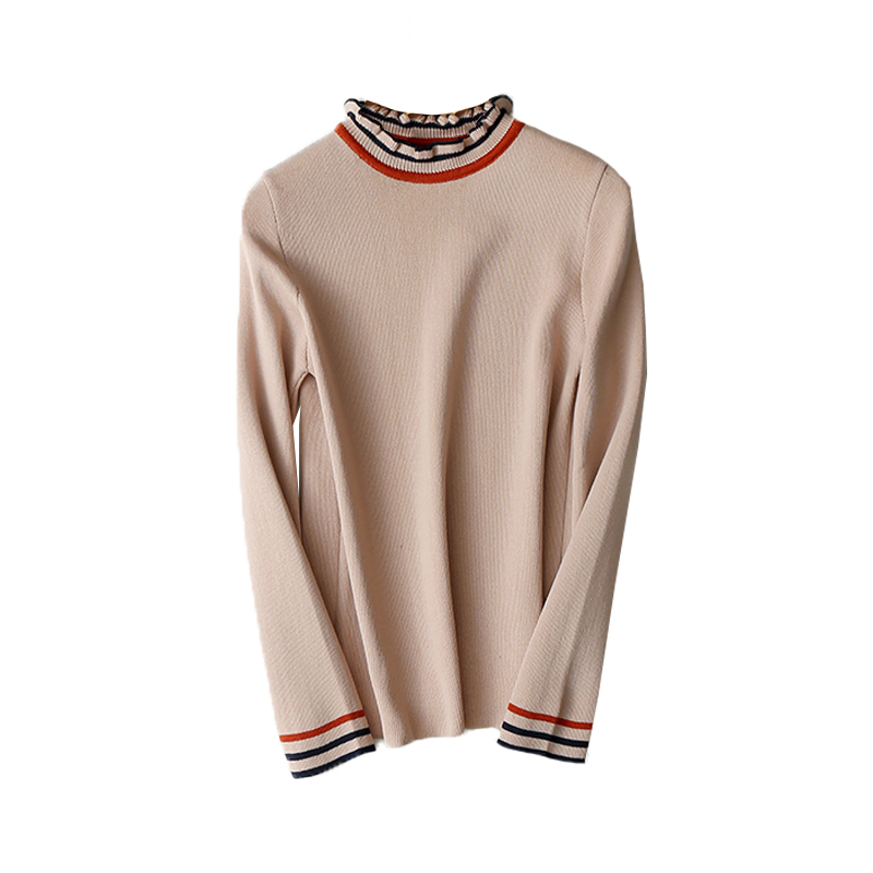 Milinsus Women Slim Fit Autumn Winter 2019 Striped Knitting T shirt Office Lady Jumper Top Ruffled Neck Jersey Korean Style in T Shirts from Women 39 s Clothing