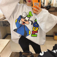 2018 Autumn And Winter South Korea Dongdaemun by Age Cartoon Pattern Printed Letter Loose Bat Sleeve Pullover Hoody Women's