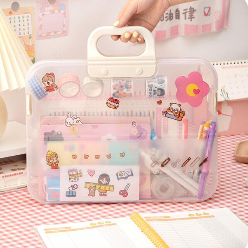 Transparent File Storage Boxes Students Large Capacity Hand-held Tutorial Bags Plastic Expanding Folders Office School Supplies