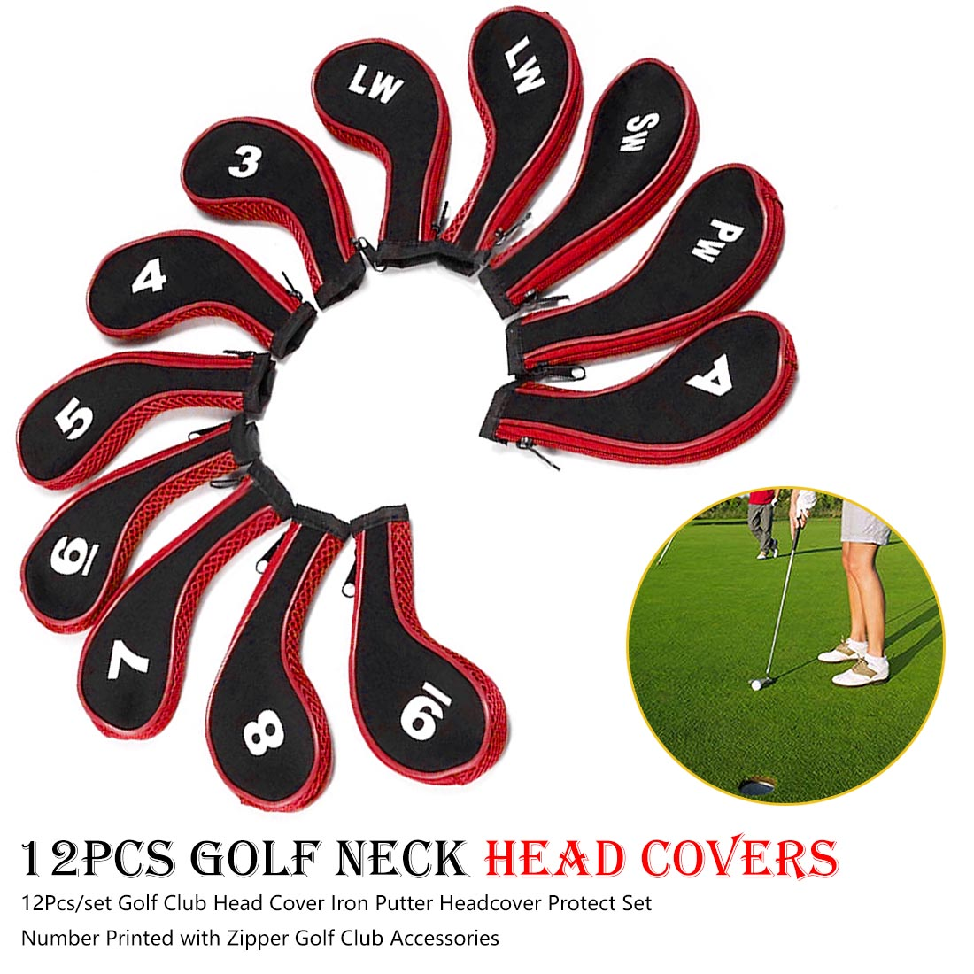 12Pcs/set Golf Club Head Cover Iron Putter Headcover Protect Set Number Printed With Zipper Golf Club Accessories