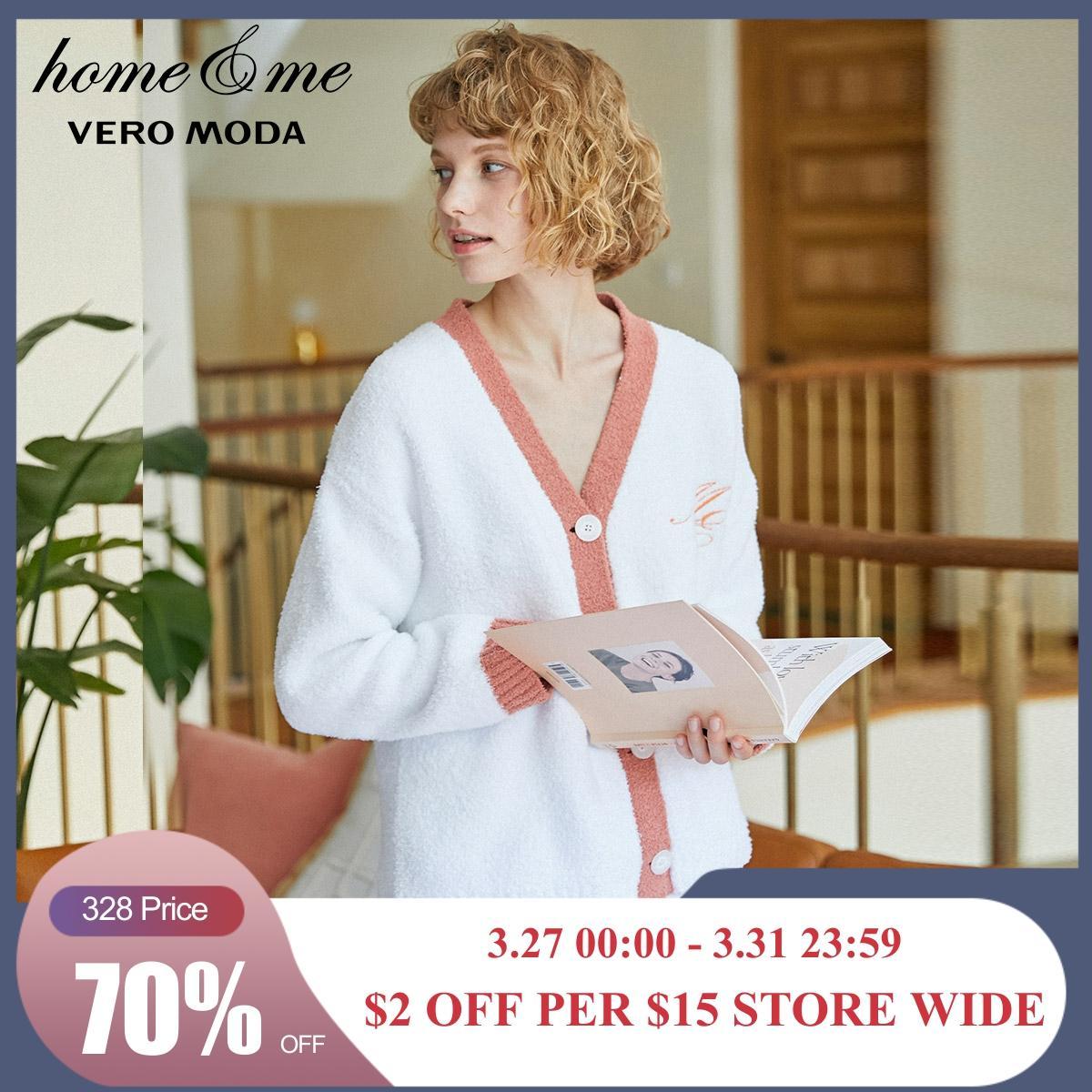Vero Moda Women's Long-sleeves Two-piece Knitted Cardigan Suit Homewear Pajamas Set   3194K6510
