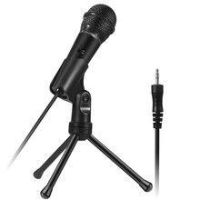 Microphone à condensateur 3.5 mmmicrophone denregistrement Plug and Play avec trépied pour la diffusion de Podcasting conférence vidéo Chat
