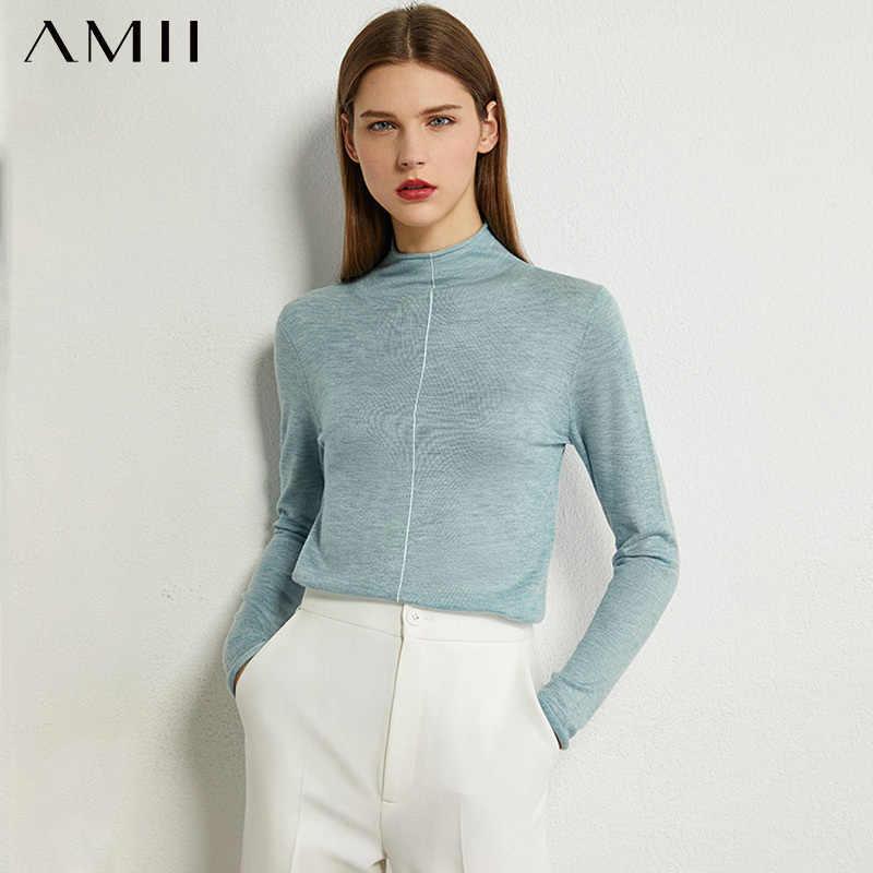 AMII Minimalism Autumn Fashion Women Sweater Solid Thin Slim