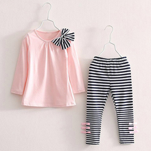 Baby Girls Clothing Sets Fashion spring Autumn  Long Sleeve Big bow T-shirt+casual striped pants 2pcs Kids Clothing Sets 40 v tree girls clothing sets spring long sleeve t shirt pants costumes for kids sport suits for teenagers girls school uniform