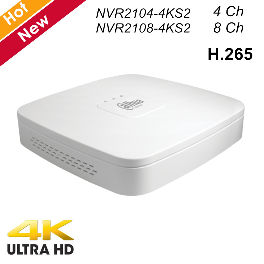 Dahua 4 Ch 8 Ch Smart 1U Lite 4K H.265 Network Video Recorder Lite Series 1 HDD NVR2104-4KS2 NVR2108-4KS2 NVR For IP Cameras