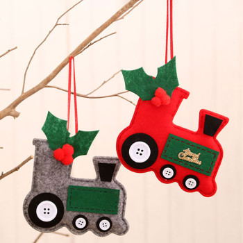 Cartoon Christmas Tree Decoration Hanging Ornament 1PC Wooden Hanging Christmas Tree Cabin Elk Car Ornament Xmas Party Decor image