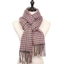 Зимний женский шарф в клетку, кашемировый шарф с узором «гусиная лапка», теплый толстый длинный женский шарф из пашмины, шали и шарфы