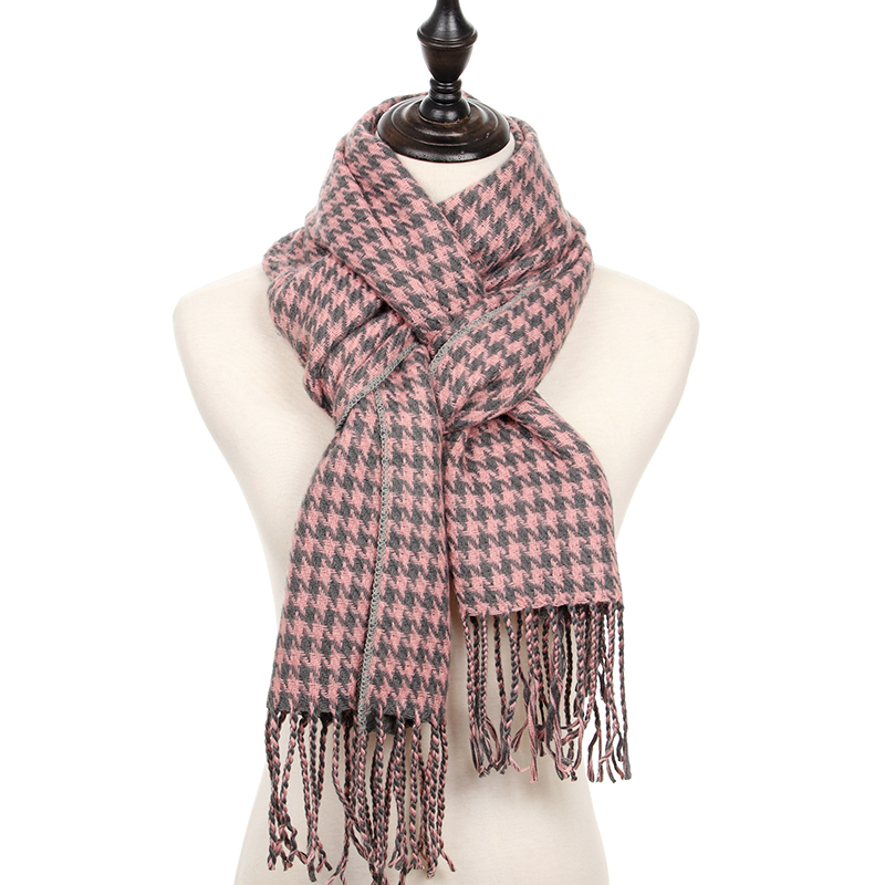 Winter Scarf Women Plaid Houndstooth Cashmere Scarf Warm Thick Long Pashmina Women Shawls And Scarves
