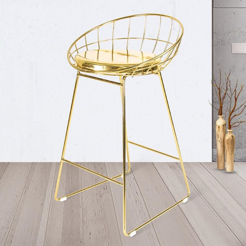 U-BEST Modern Design Luxury Gold Color Stainless Steel Bertoia Wire Bar Stool Chairs For Hotel Club