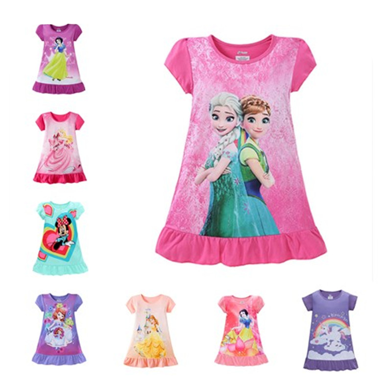 Kids Girls Princess Dress Anna Elsa Minnie Mouse Sofia Unicorn Print Cartoon Costume Baby Children Summer Clothes PJS 3-9T