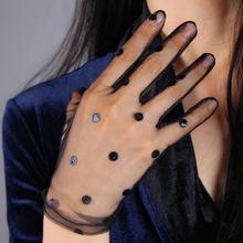 Женские сексуальные прозрачные перчатки в горошек, черные сетчатые перчатки, женские летние Вечерние перчатки для танцев R1910