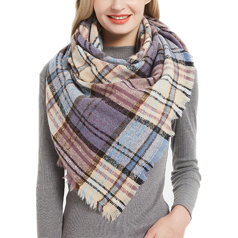 Brand New Circle Spur Wool Scarves Women 39 Color Lattice Triangle Shawl And Wraps Female Autumn Winter Bib Scarves Wholesale