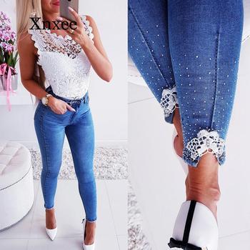 Jeans Woman Casual Mid Waist Lace Pearl Contrast Split Skinny Jeans Women Streetwear Fashion Denim Pants Women jeans mujer stripe contrast split pants